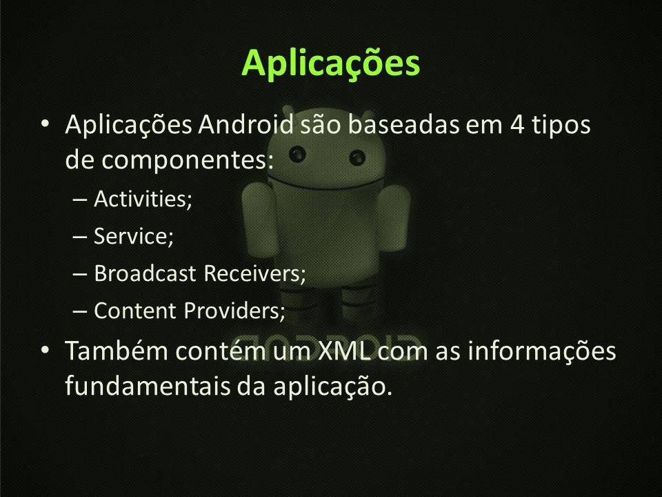 Aplicações Aplicações Android são baseadas em 4 tipos de componentes: – Activities; – Service; – Broadcast Receivers; – Content Providers; Também cont