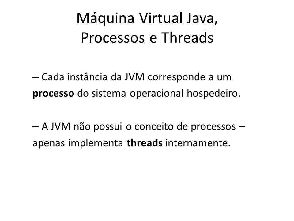 Máquina Virtual Java, Processos e Threads – Ao ser iniciada, a JVM executa o método main() do programa na thread principal, e novas threads podem ser criadas a partir desta.