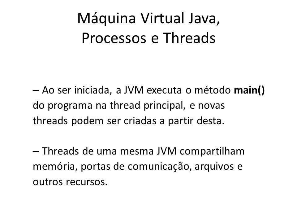 Prioridade de Threads Valor de 1 a 10; 5 é o default.