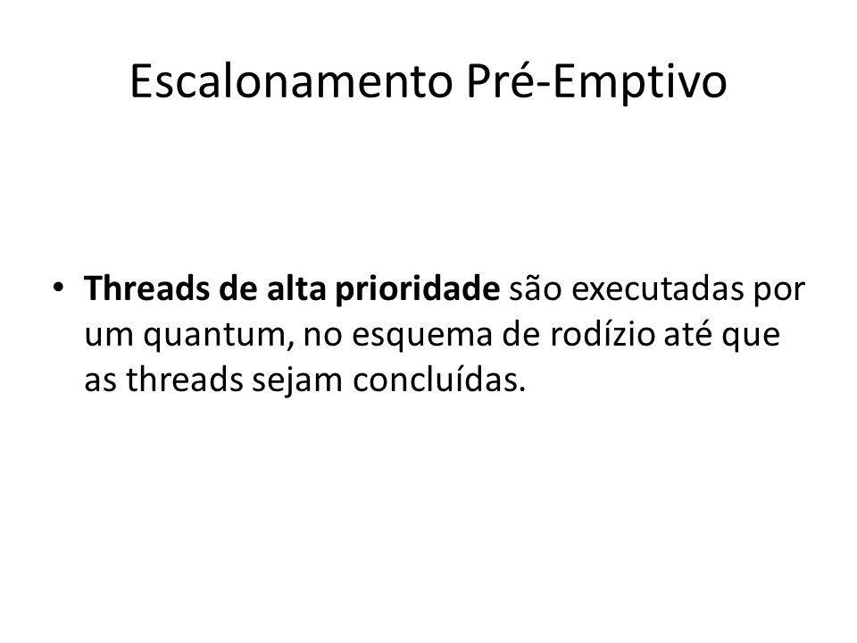 Escalonamento Pré-Emptivo Threads de alta prioridade são executadas por um quantum, no esquema de rodízio até que as threads sejam concluídas.