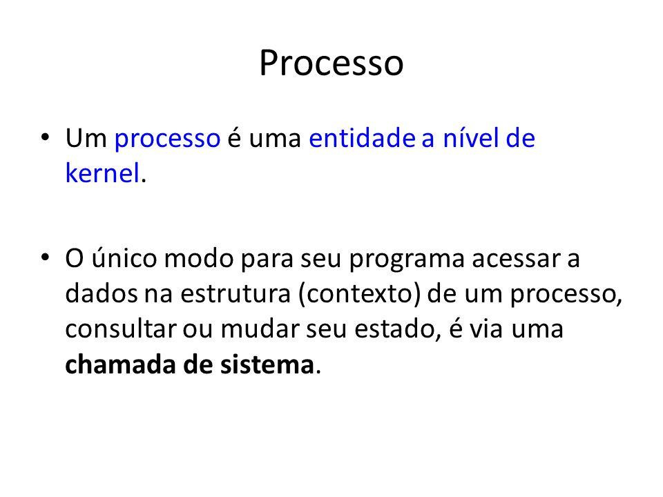 Processo Um processo é uma entidade a nível de kernel. O único modo para seu programa acessar a dados na estrutura (contexto) de um processo, consulta