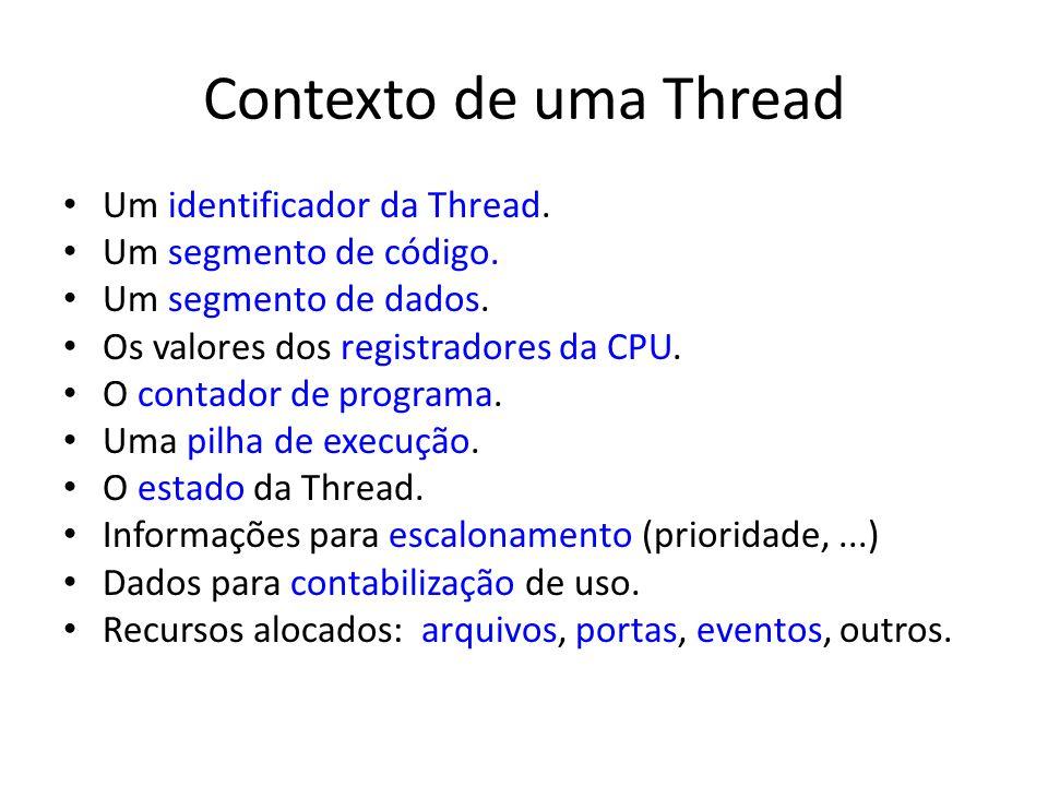 Contexto de uma Thread Um identificador da Thread. Um segmento de código. Um segmento de dados. Os valores dos registradores da CPU. O contador de pro