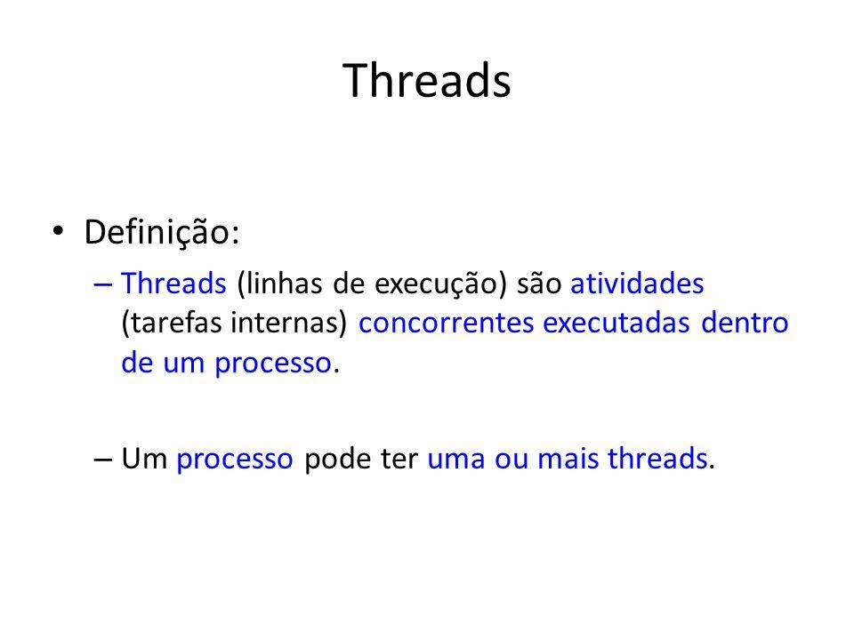 Threads Definição: – Threads (linhas de execução) são atividades (tarefas internas) concorrentes executadas dentro de um processo. – Um processo pode