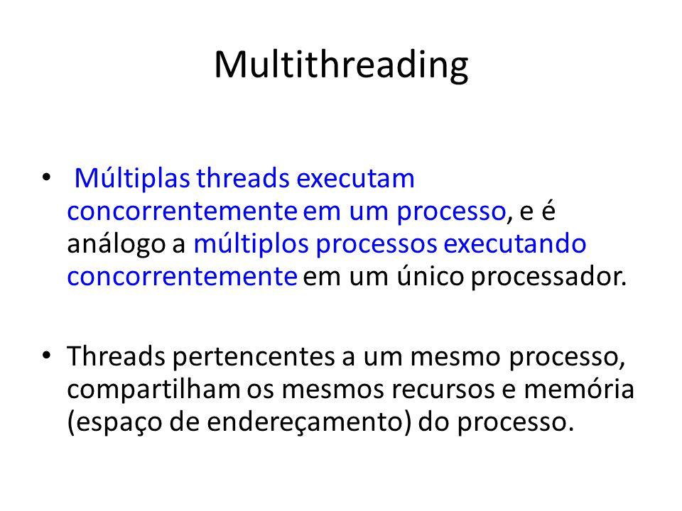 Multithreading Múltiplas threads executam concorrentemente em um processo, e é análogo a múltiplos processos executando concorrentemente em um único p