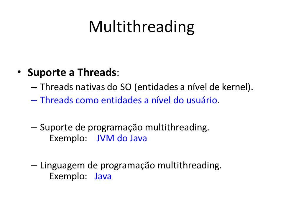 Multithreading Suporte a Threads: – Threads nativas do SO (entidades a nível de kernel). – Threads como entidades a nível do usuário. – Suporte de pro