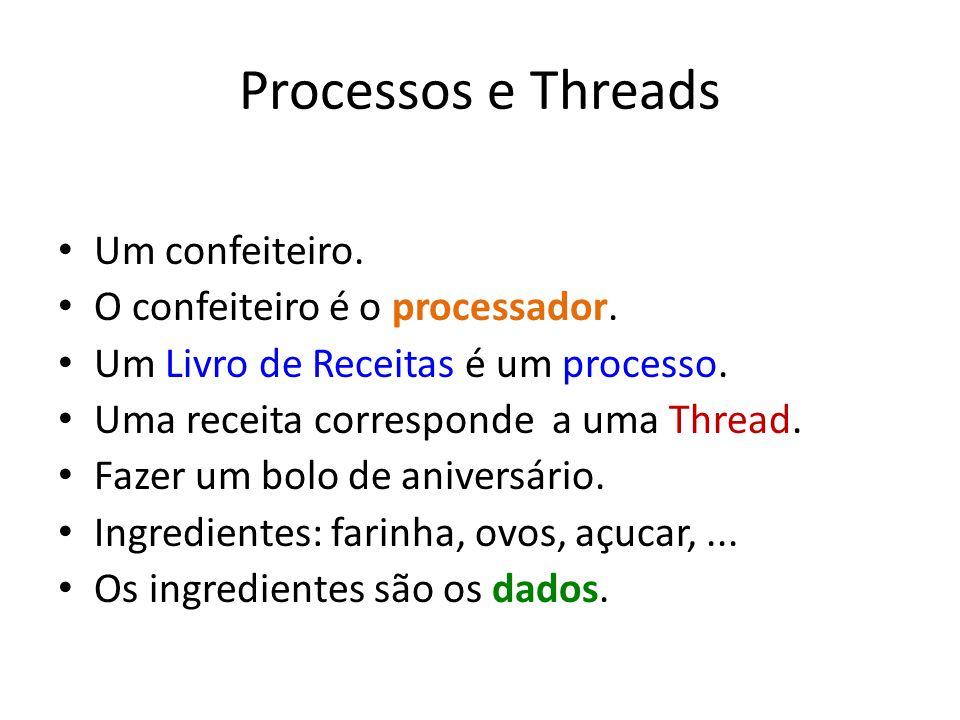 Processos e Threads Um confeiteiro. O confeiteiro é o processador. Um Livro de Receitas é um processo. Uma receita corresponde a uma Thread. Fazer um