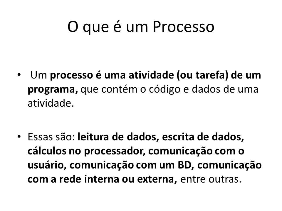 O que é um Processo Um processo é uma atividade (ou tarefa) de um programa, que contém o código e dados de uma atividade. Essas são: leitura de dados,