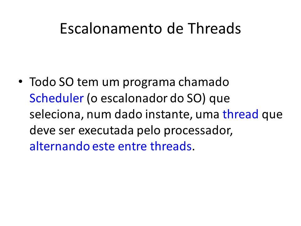 Escalonamento de Threads Todo SO tem um programa chamado Scheduler (o escalonador do SO) que seleciona, num dado instante, uma thread que deve ser exe