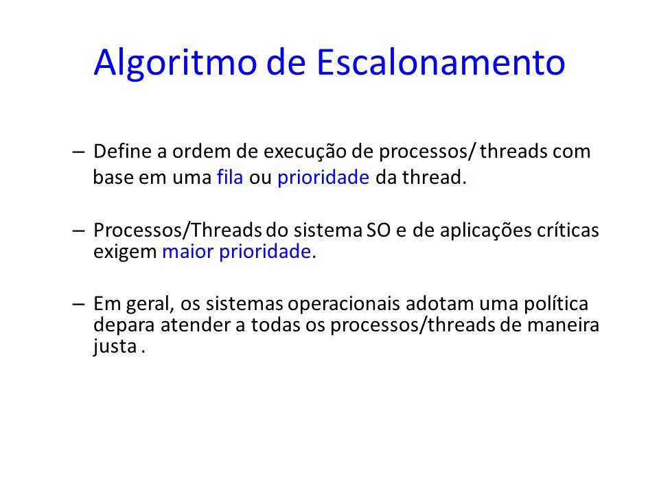 Algoritmo de Escalonamento – Define a ordem de execução de processos/ threads com base em uma fila ou prioridade da thread. – Processos/Threads do sis