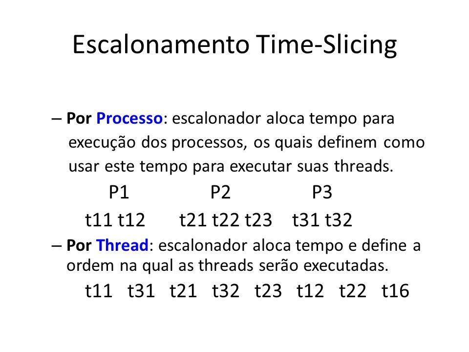 Escalonamento Time-Slicing – Por Processo: escalonador aloca tempo para execução dos processos, os quais definem como usar este tempo para executar su
