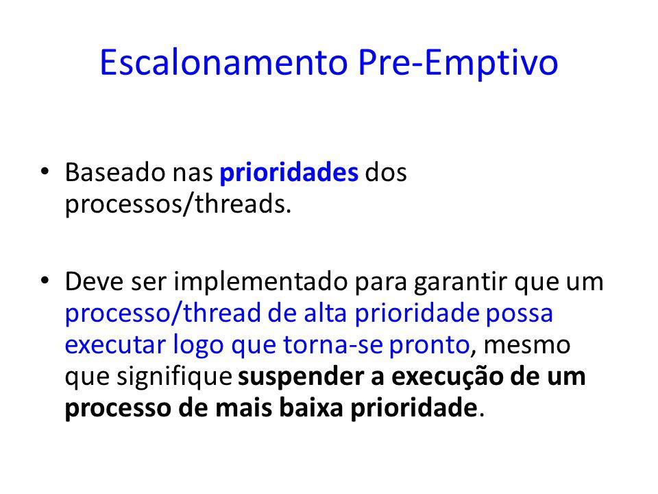 Escalonamento Pre-Emptivo Baseado nas prioridades dos processos/threads. Deve ser implementado para garantir que um processo/thread de alta prioridade