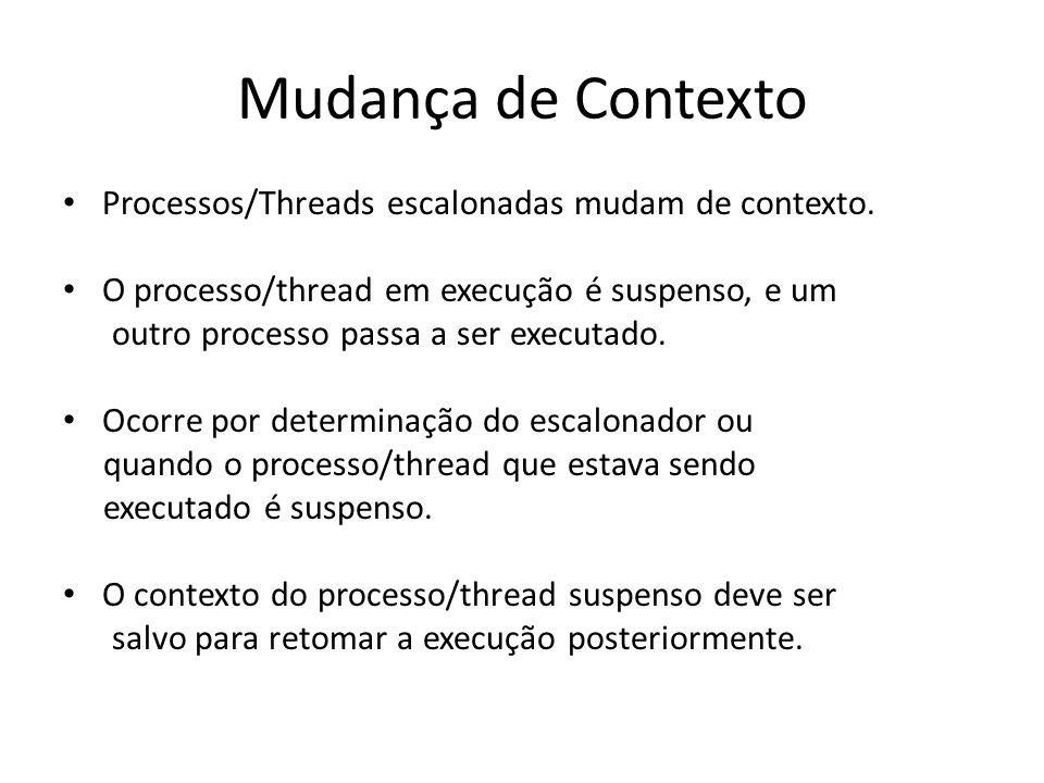 Mudança de Contexto Processos/Threads escalonadas mudam de contexto. O processo/thread em execução é suspenso, e um outro processo passa a ser executa