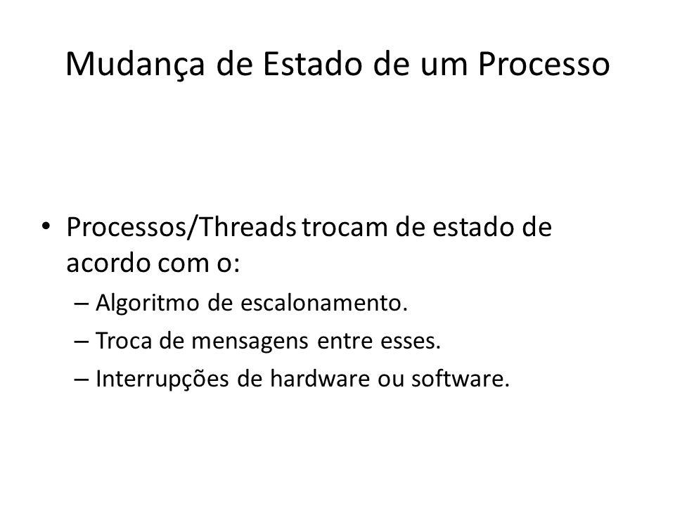 Mudança de Estado de um Processo Processos/Threads trocam de estado de acordo com o: – Algoritmo de escalonamento. – Troca de mensagens entre esses. –