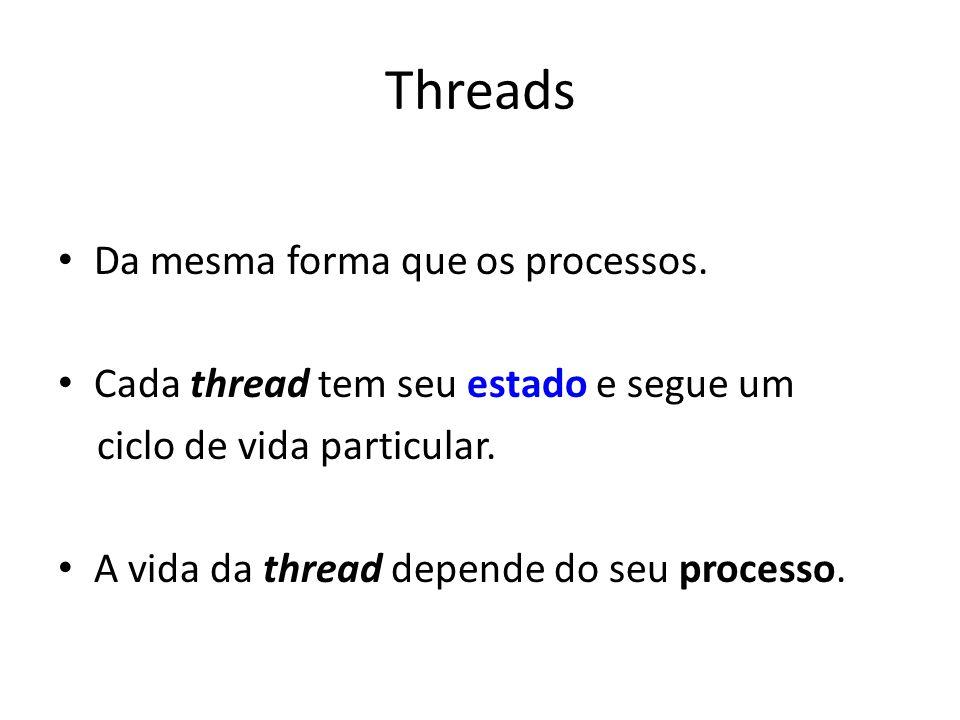 Threads Da mesma forma que os processos. Cada thread tem seu estado e segue um ciclo de vida particular. A vida da thread depende do seu processo.