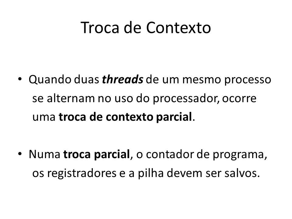 Troca de Contexto Quando duas threads de um mesmo processo se alternam no uso do processador, ocorre uma troca de contexto parcial. Numa troca parcial