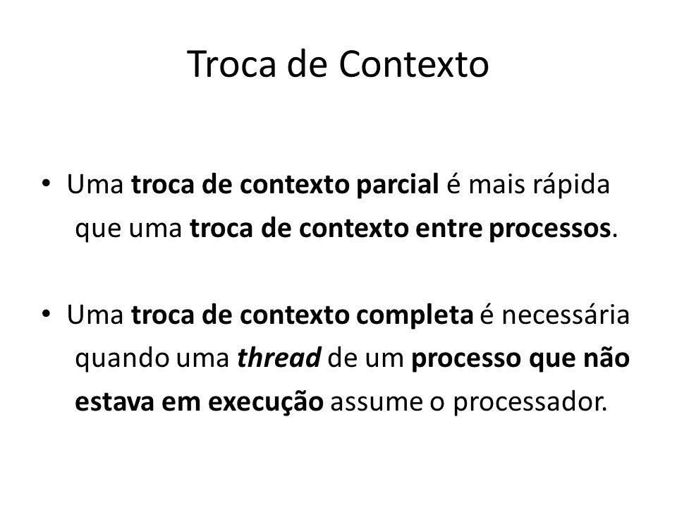 Troca de Contexto Uma troca de contexto parcial é mais rápida que uma troca de contexto entre processos. Uma troca de contexto completa é necessária q