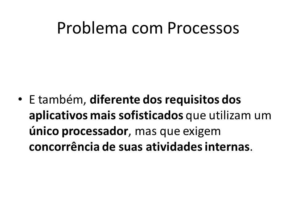Problema com Processos E também, diferente dos requisitos dos aplicativos mais sofisticados que utilizam um único processador, mas que exigem concorrê