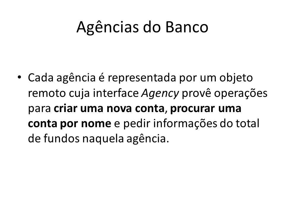 Agências do Banco Cada agência é representada por um objeto remoto cuja interface Agency provê operações para criar uma nova conta, procurar uma conta