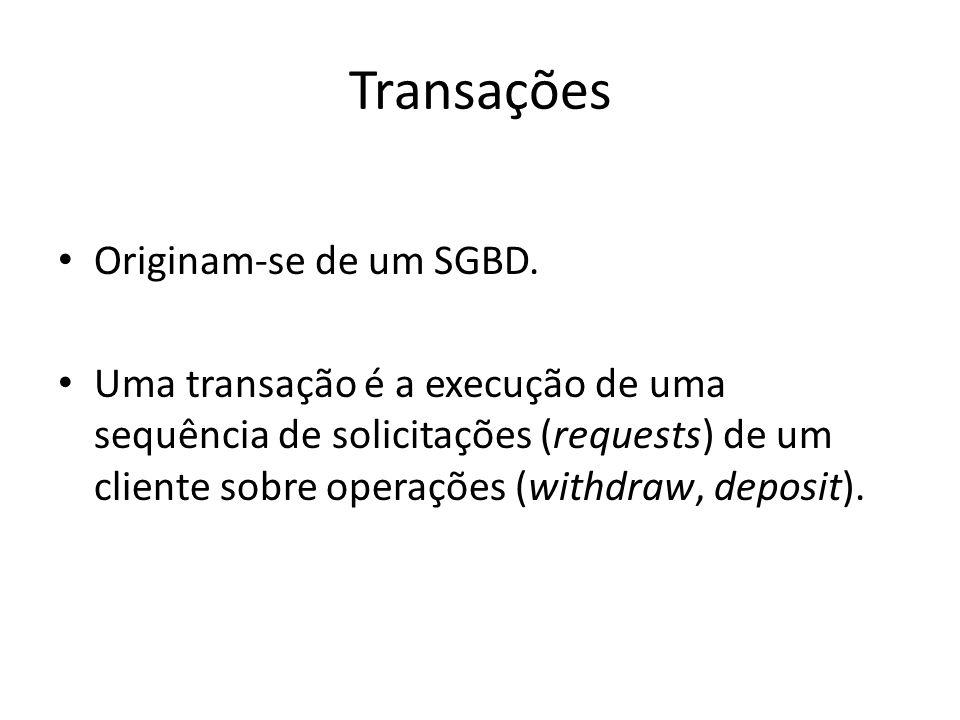 Transações Originam-se de um SGBD. Uma transação é a execução de uma sequência de solicitações (requests) de um cliente sobre operações (withdraw, dep