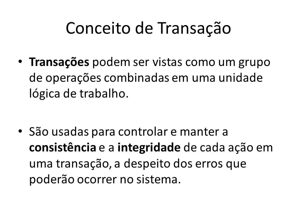 Conceito de Transação Transações podem ser vistas como um grupo de operações combinadas em uma unidade lógica de trabalho. São usadas para controlar e