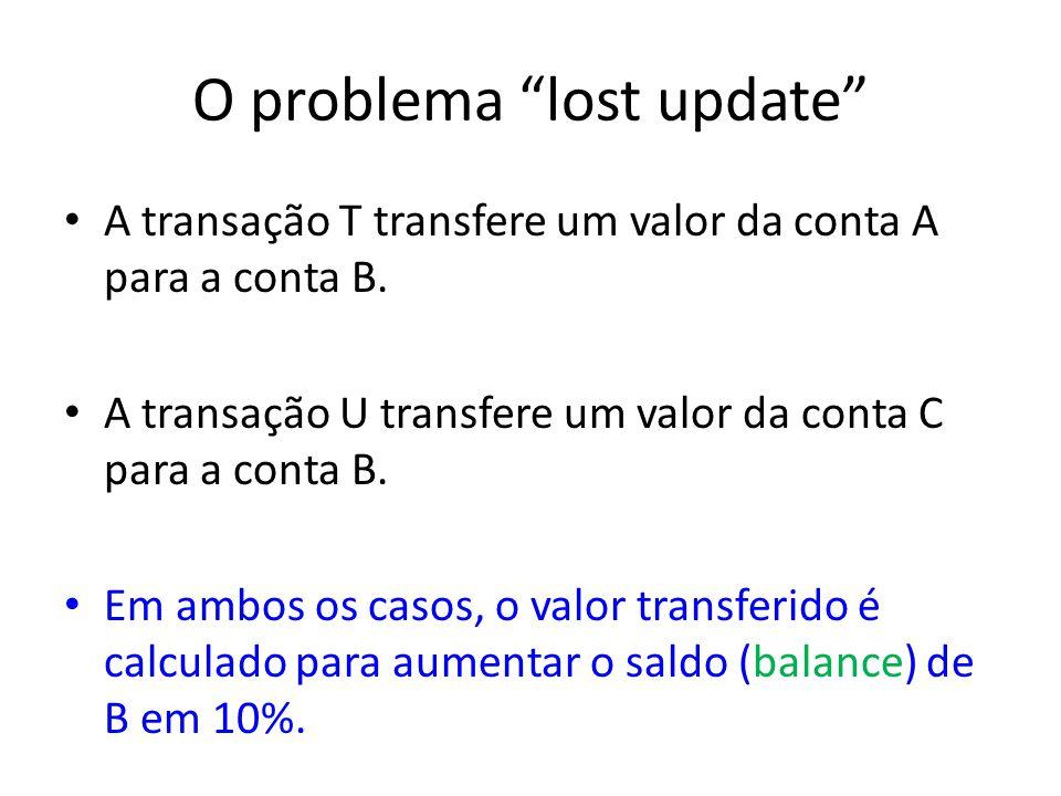 O problema lost update A transação T transfere um valor da conta A para a conta B. A transação U transfere um valor da conta C para a conta B. Em ambo