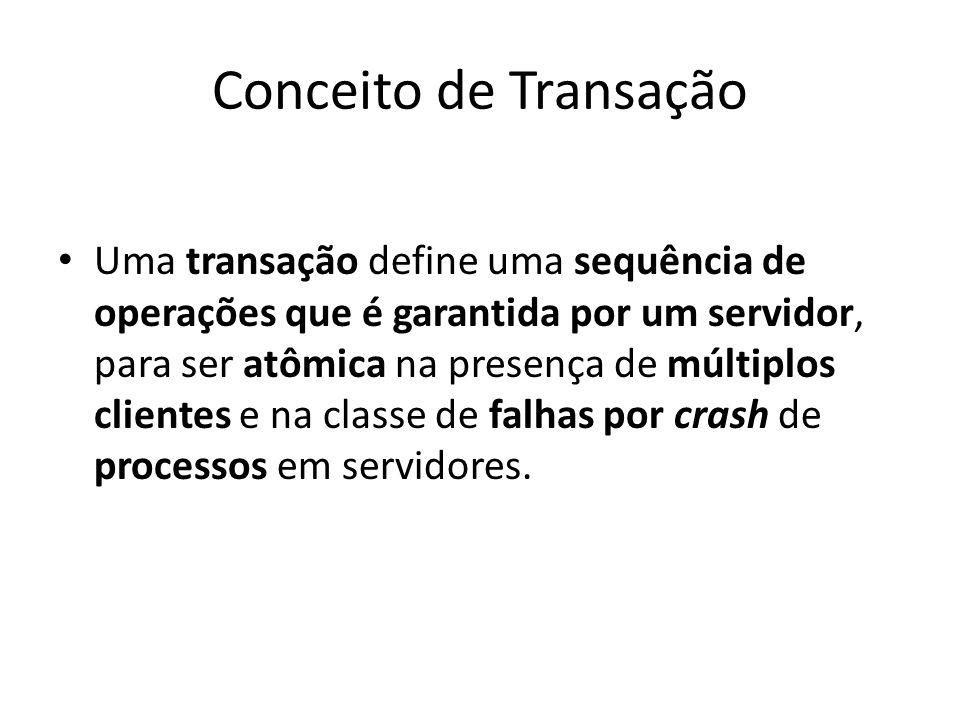 Conceito de Transação Uma transação define uma sequência de operações que é garantida por um servidor, para ser atômica na presença de múltiplos clien