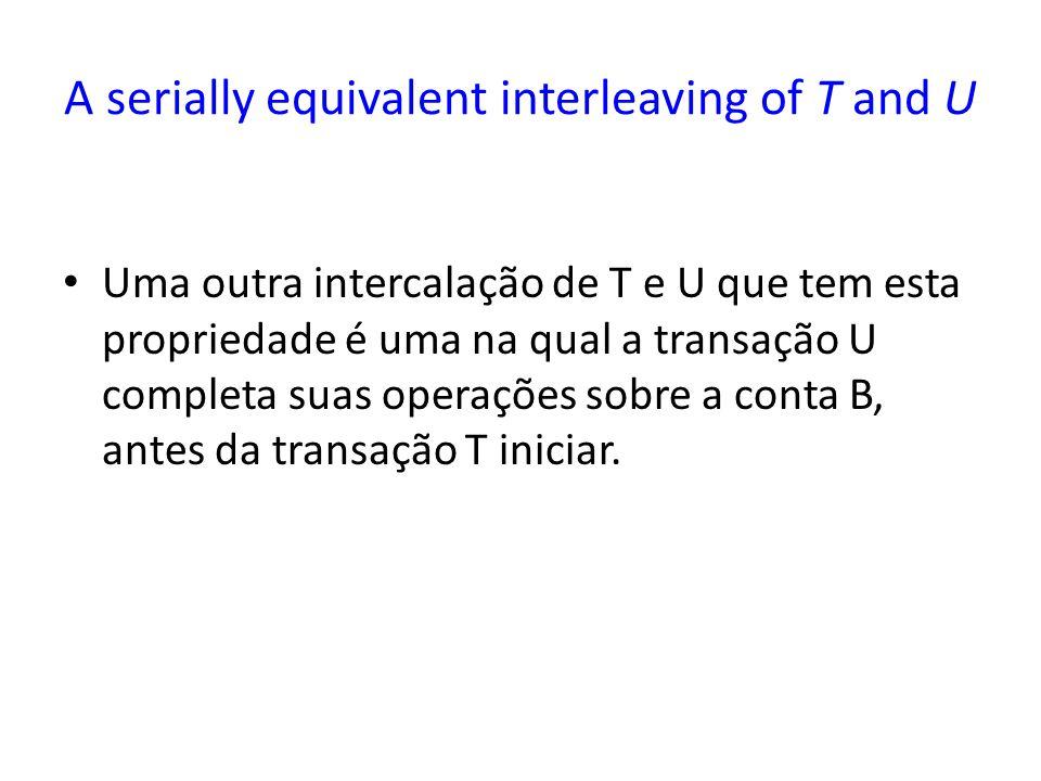 A serially equivalent interleaving of T and U Uma outra intercalação de T e U que tem esta propriedade é uma na qual a transação U completa suas opera