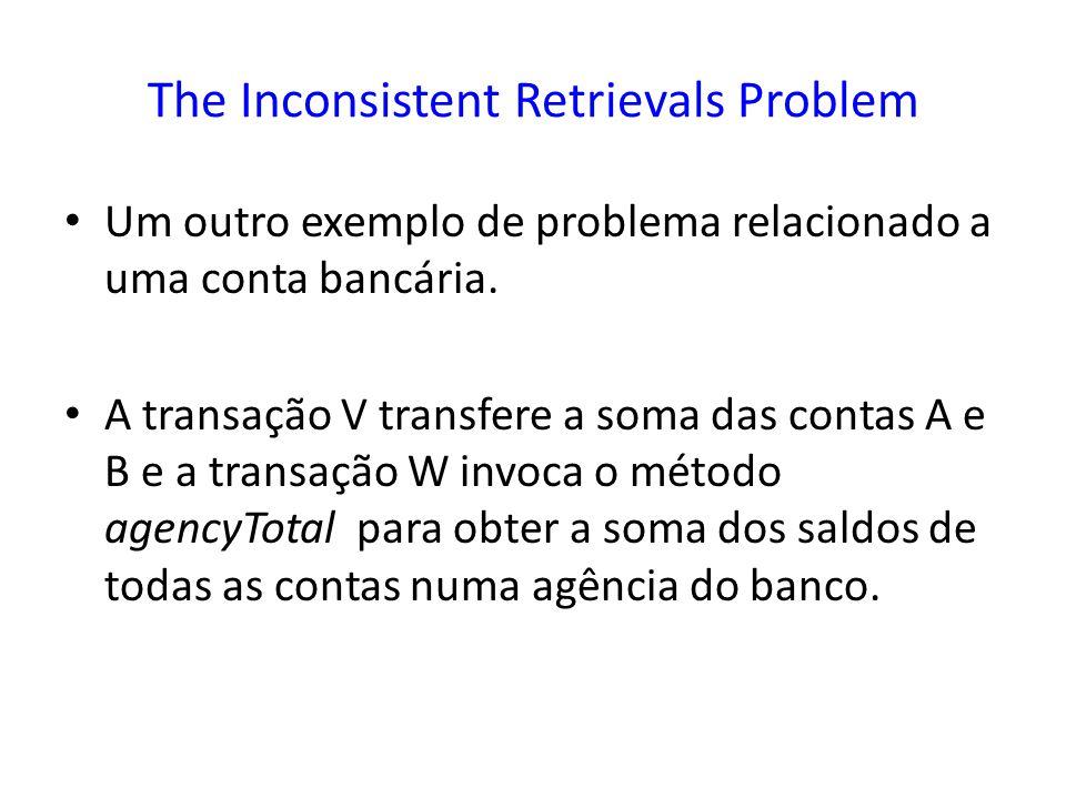 The Inconsistent Retrievals Problem Um outro exemplo de problema relacionado a uma conta bancária. A transação V transfere a soma das contas A e B e a