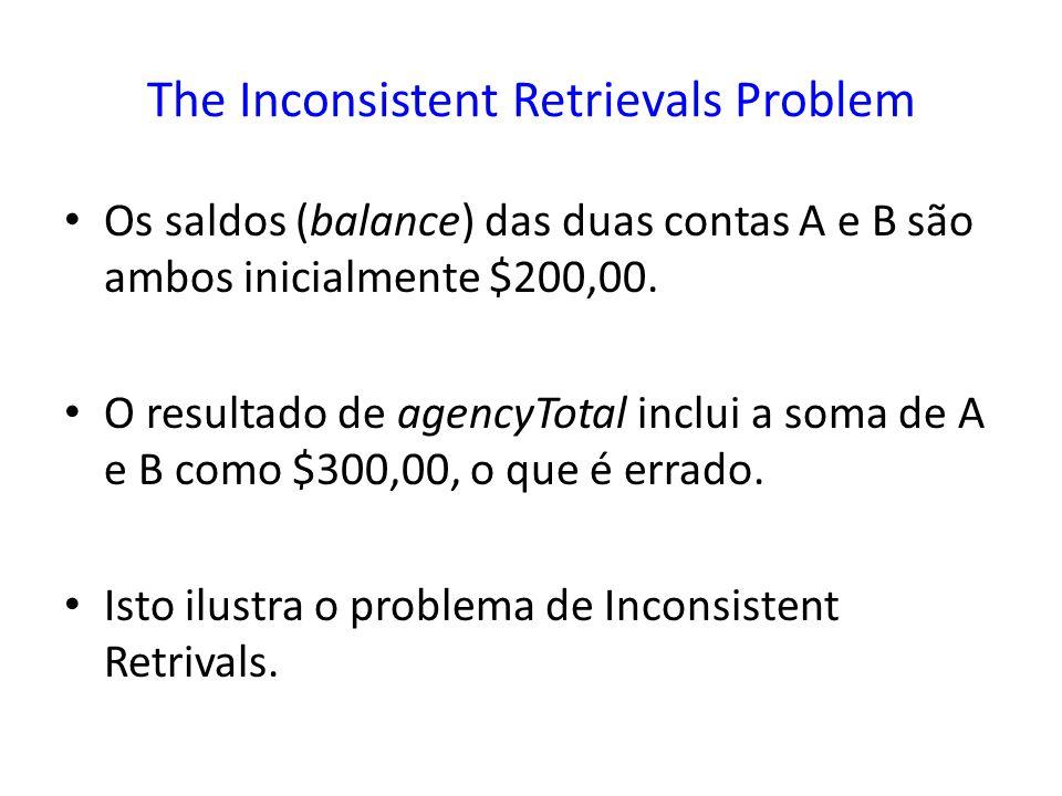 The Inconsistent Retrievals Problem Os saldos (balance) das duas contas A e B são ambos inicialmente $200,00. O resultado de agencyTotal inclui a soma