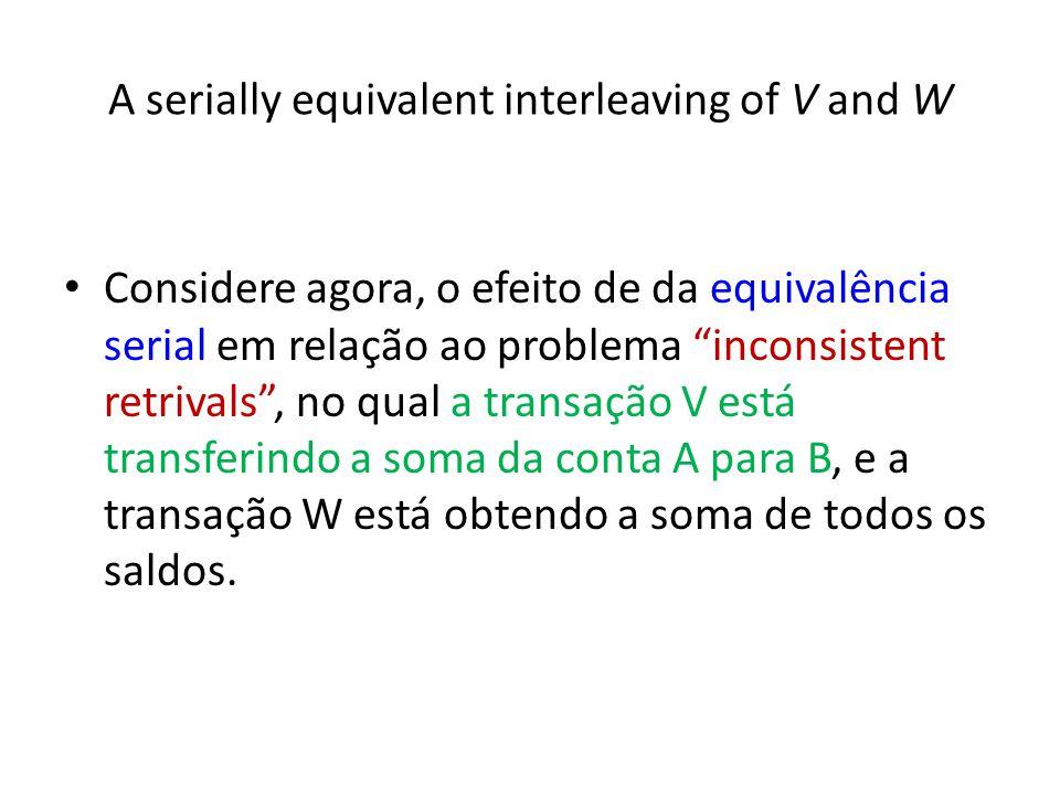 A serially equivalent interleaving of V and W Considere agora, o efeito de da equivalência serial em relação ao problema inconsistent retrivals, no qu