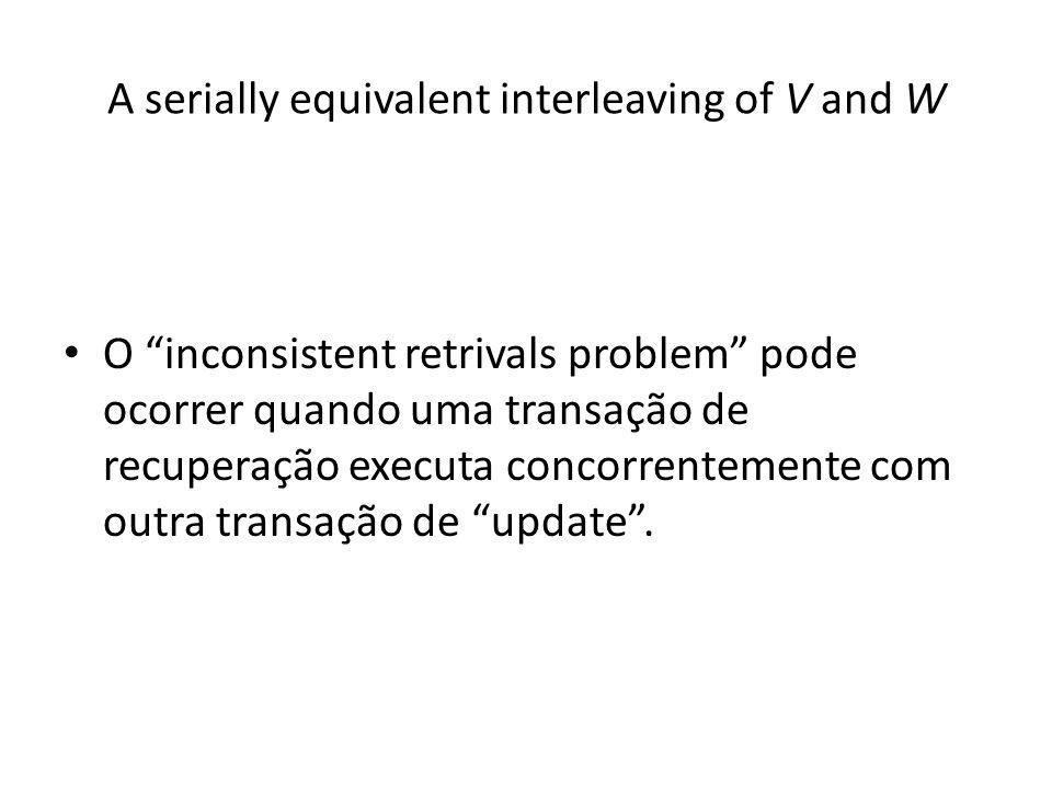 A serially equivalent interleaving of V and W O inconsistent retrivals problem pode ocorrer quando uma transação de recuperação executa concorrentemen