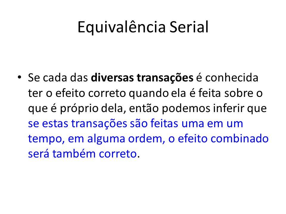 Equivalência Serial Se cada das diversas transações é conhecida ter o efeito correto quando ela é feita sobre o que é próprio dela, então podemos infe