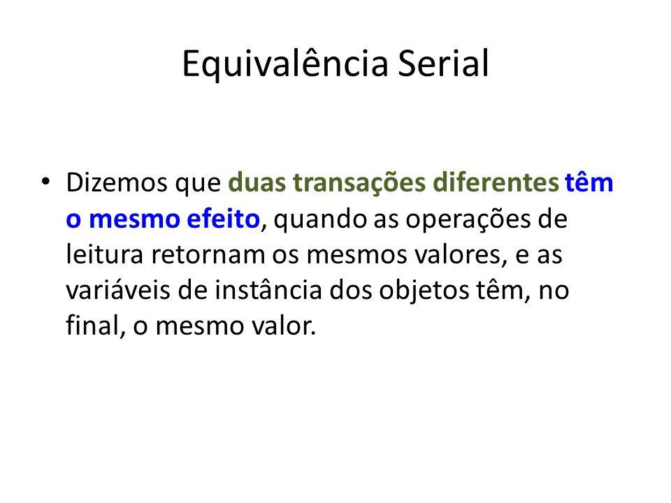 Equivalência Serial Dizemos que duas transações diferentes têm o mesmo efeito, quando as operações de leitura retornam os mesmos valores, e as variáve