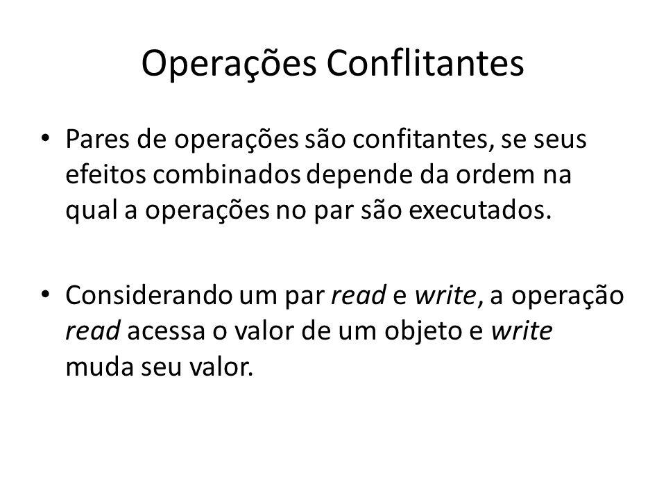 Operações Conflitantes Pares de operações são confitantes, se seus efeitos combinados depende da ordem na qual a operações no par são executados. Cons
