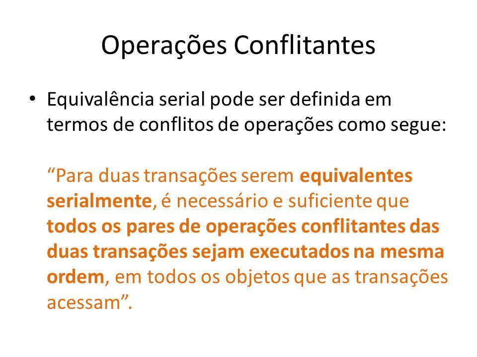 Operações Conflitantes Equivalência serial pode ser definida em termos de conflitos de operações como segue: Para duas transações serem equivalentes s