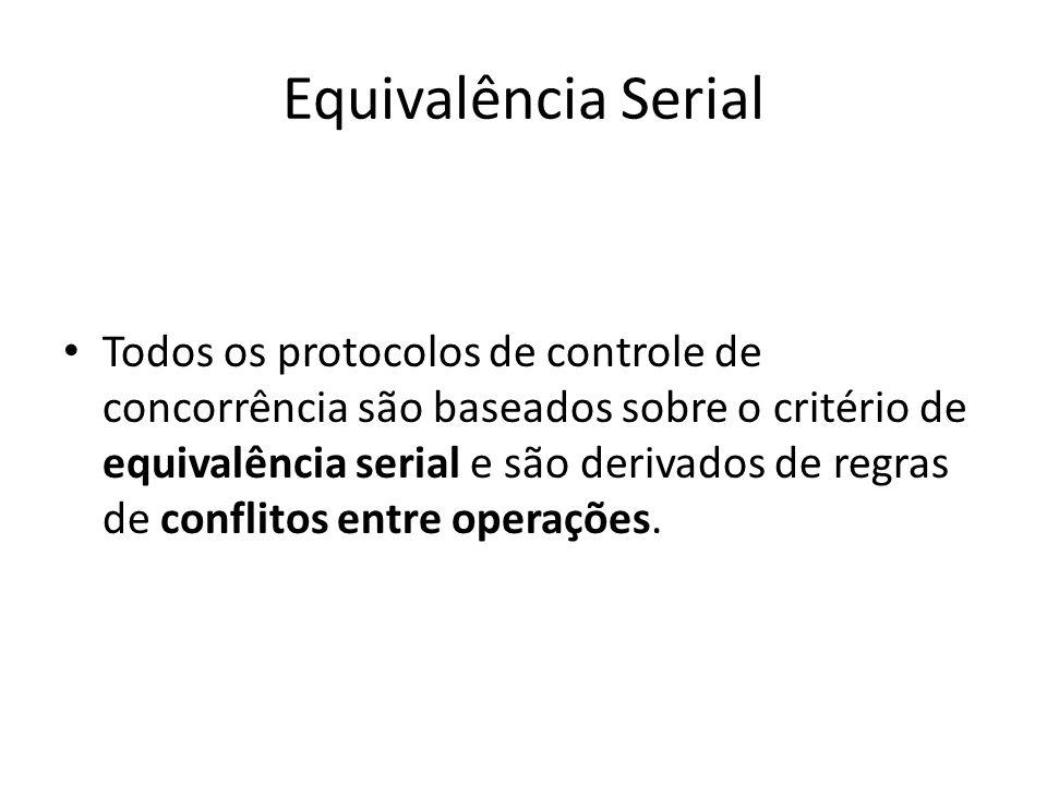 Equivalência Serial Todos os protocolos de controle de concorrência são baseados sobre o critério de equivalência serial e são derivados de regras de