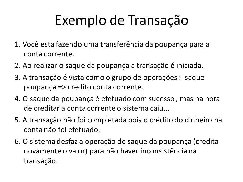 Exemplo de Transação 1. Você esta fazendo uma transferência da poupança para a conta corrente. 2. Ao realizar o saque da poupança a transação é inicia