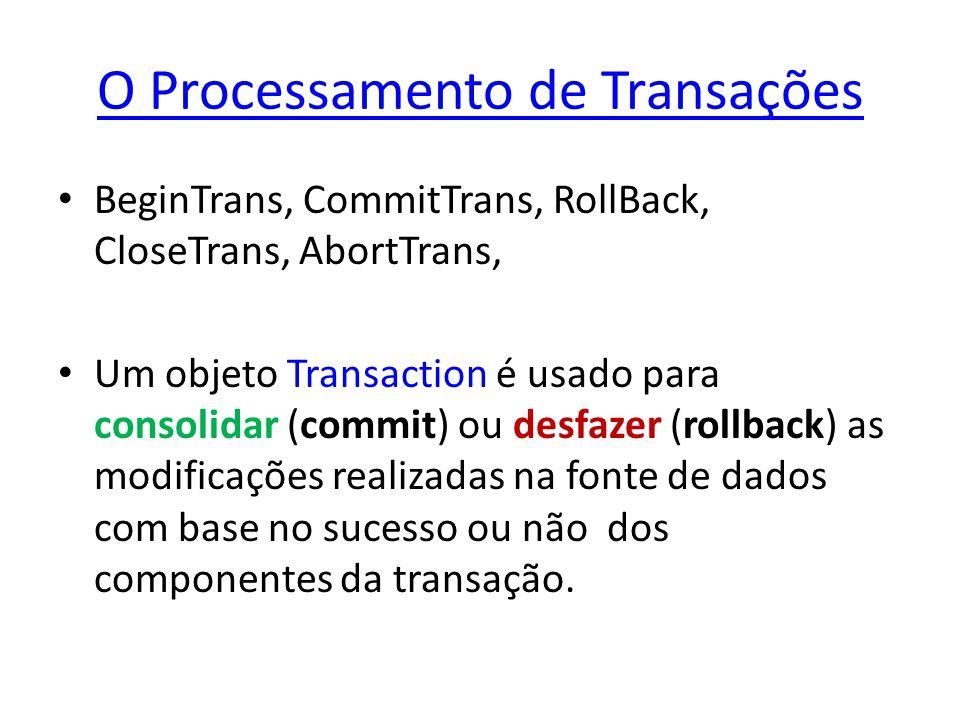 O Processamento de Transações BeginTrans, CommitTrans, RollBack, CloseTrans, AbortTrans, Um objeto Transaction é usado para consolidar (commit) ou des