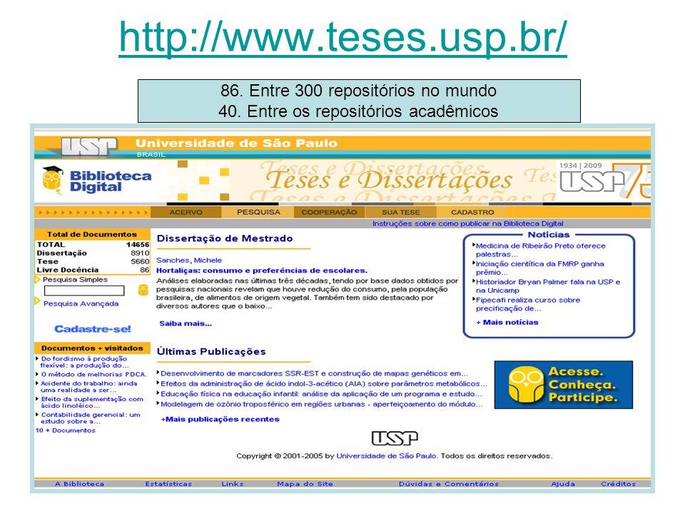 http://www.teses.usp.br/ 86. Entre 300 repositórios no mundo 40. Entre os repositórios acadêmicos