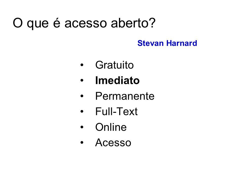 O que é acesso aberto? Stevan Harnard Gratuito Imediato Permanente Full-Text Online Acesso