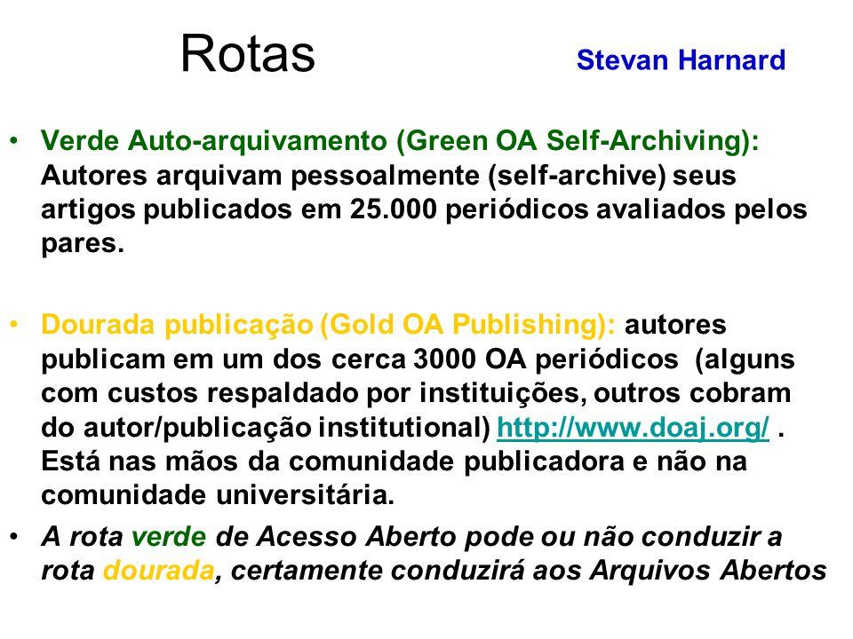 Rotas Verde Auto-arquivamento (Green OA Self-Archiving): Autores arquivam pessoalmente (self-archive) seus artigos publicados em 25.000 periódicos ava