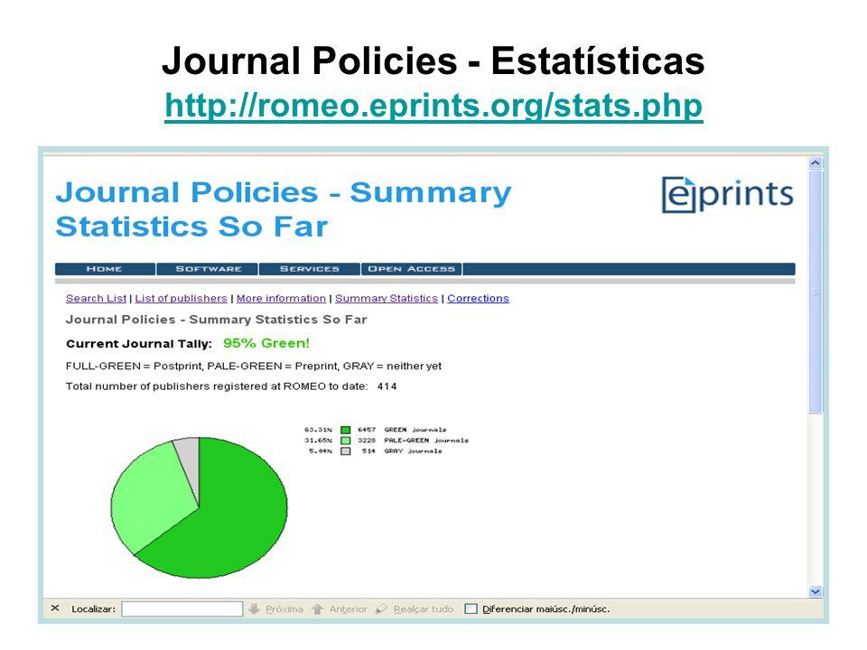 Journal Policies - Estatísticas http://romeo.eprints.org/stats.php http://romeo.eprints.org/stats.php