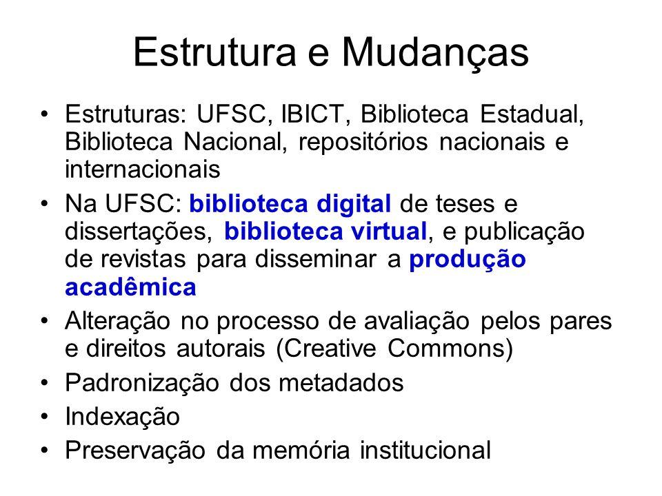 Estrutura e Mudanças Estruturas: UFSC, IBICT, Biblioteca Estadual, Biblioteca Nacional, repositórios nacionais e internacionais Na UFSC: biblioteca di