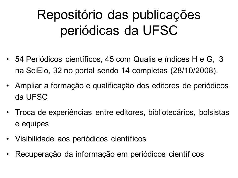 Repositório das publicações periódicas da UFSC 54 Periódicos científicos, 45 com Qualis e índices H e G, 3 na SciElo, 32 no portal sendo 14 completas