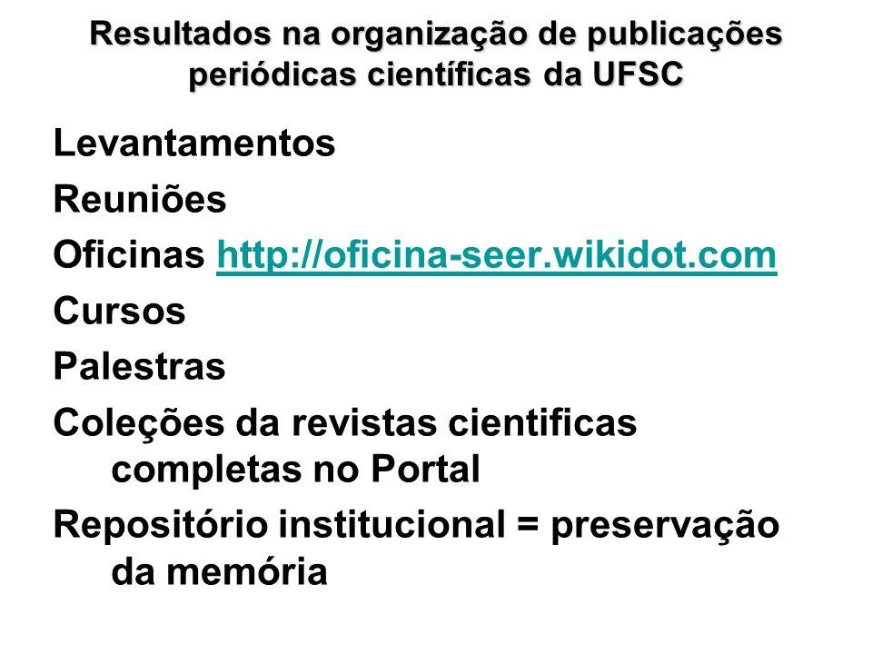 Resultados na organização de publicações periódicas científicas da UFSC Levantamentos Reuniões Oficinas http://oficina-seer.wikidot.comhttp://oficina-