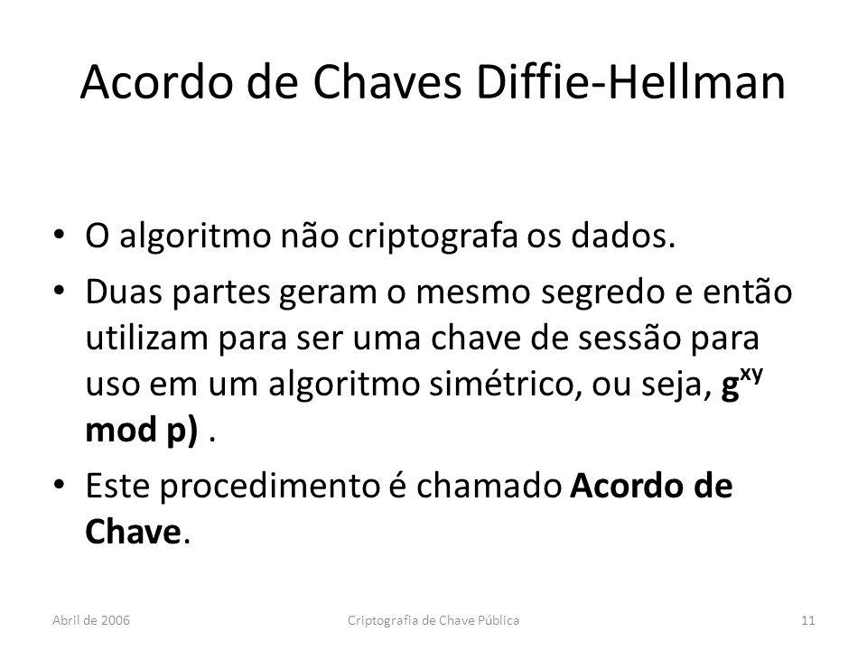 Abril de 2006Criptografia de Chave Pública11 Acordo de Chaves Diffie-Hellman O algoritmo não criptografa os dados.