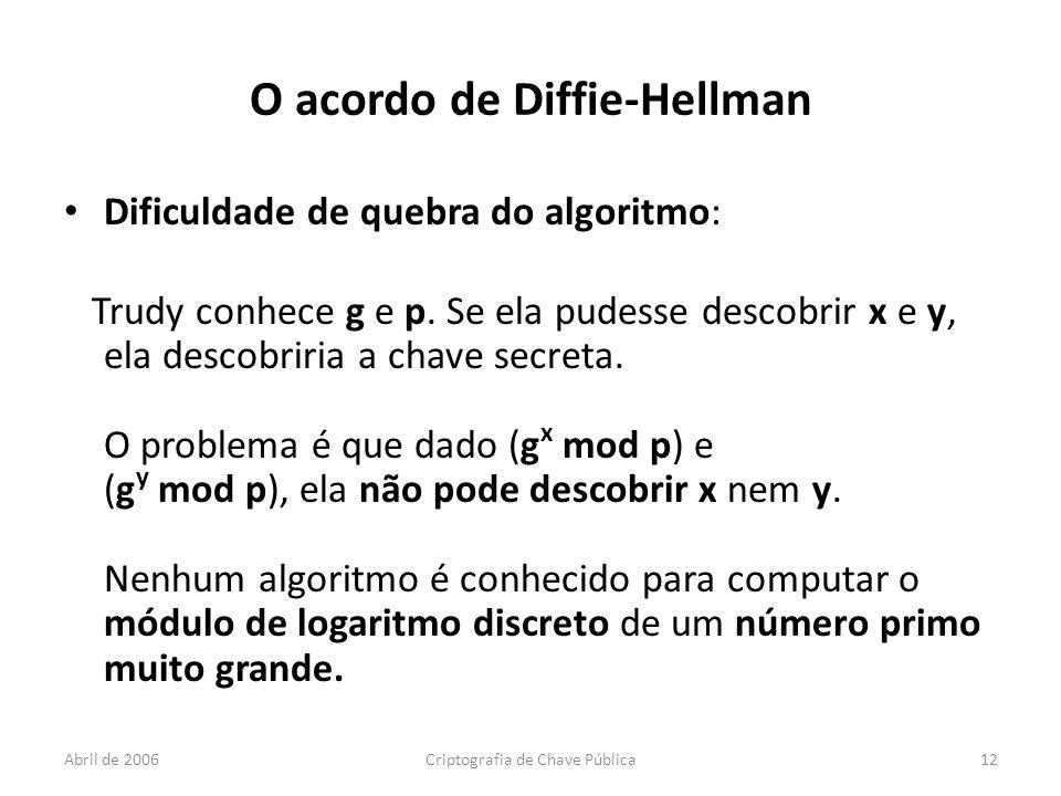 Abril de 2006Criptografia de Chave Pública12 O acordo de Diffie-Hellman Dificuldade de quebra do algoritmo: Trudy conhece g e p.