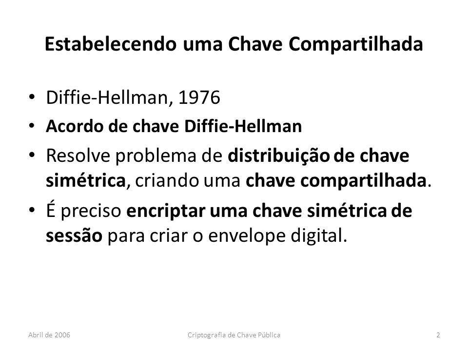 Abril de 2006Criptografia de Chave Pública2 Estabelecendo uma Chave Compartilhada Diffie-Hellman, 1976 Acordo de chave Diffie-Hellman Resolve problema de distribuição de chave simétrica, criando uma chave compartilhada.