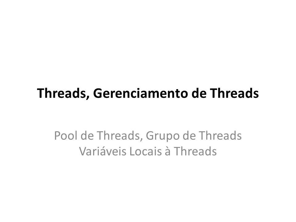 Tarefa para Adormecimento e Despertar de Threads public class ThreadSleep extends Thread { private long tempo = 0; public ThreadSleep(long tempo) { this.tempo = tempo; } // Construtor public void run() { // Código da Thread System.out.println(getName() + vai dormir por + tempo + ms. ); try { sleep(tempo); System.out.println(getName() + acordou. ); } catch (InterruptedException e) { e.printStackTrace(); } } public static void main(String args[]) { for (int i=0; i<10; i++) // Cria e executa as Threads new ThreadSleep((long)(Math.random()*10000)).start(); }