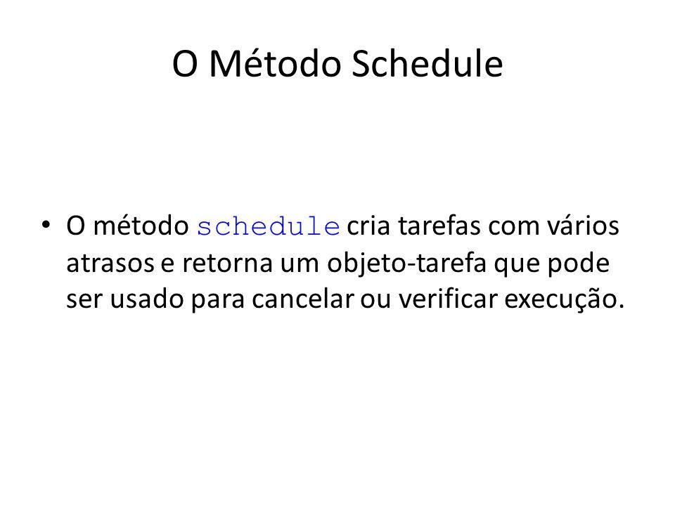 O Método Schedule O método schedule cria tarefas com vários atrasos e retorna um objeto-tarefa que pode ser usado para cancelar ou verificar execução.